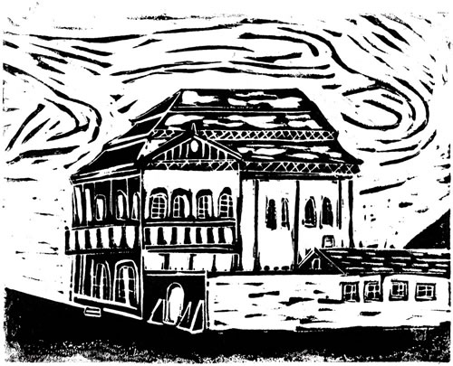 Końskie, Poland - Original Linocut