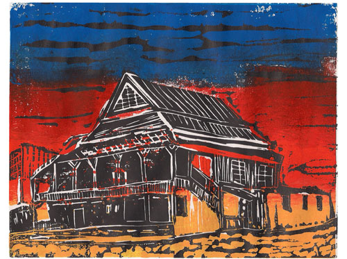 Novyy Yarychiv, Ukraine - Original Linocut, Color
