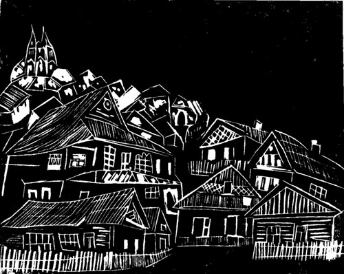 Shtetl in the Pale Blue - Original Linocut